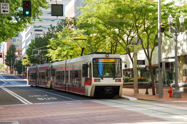 European style buses downtown Portland